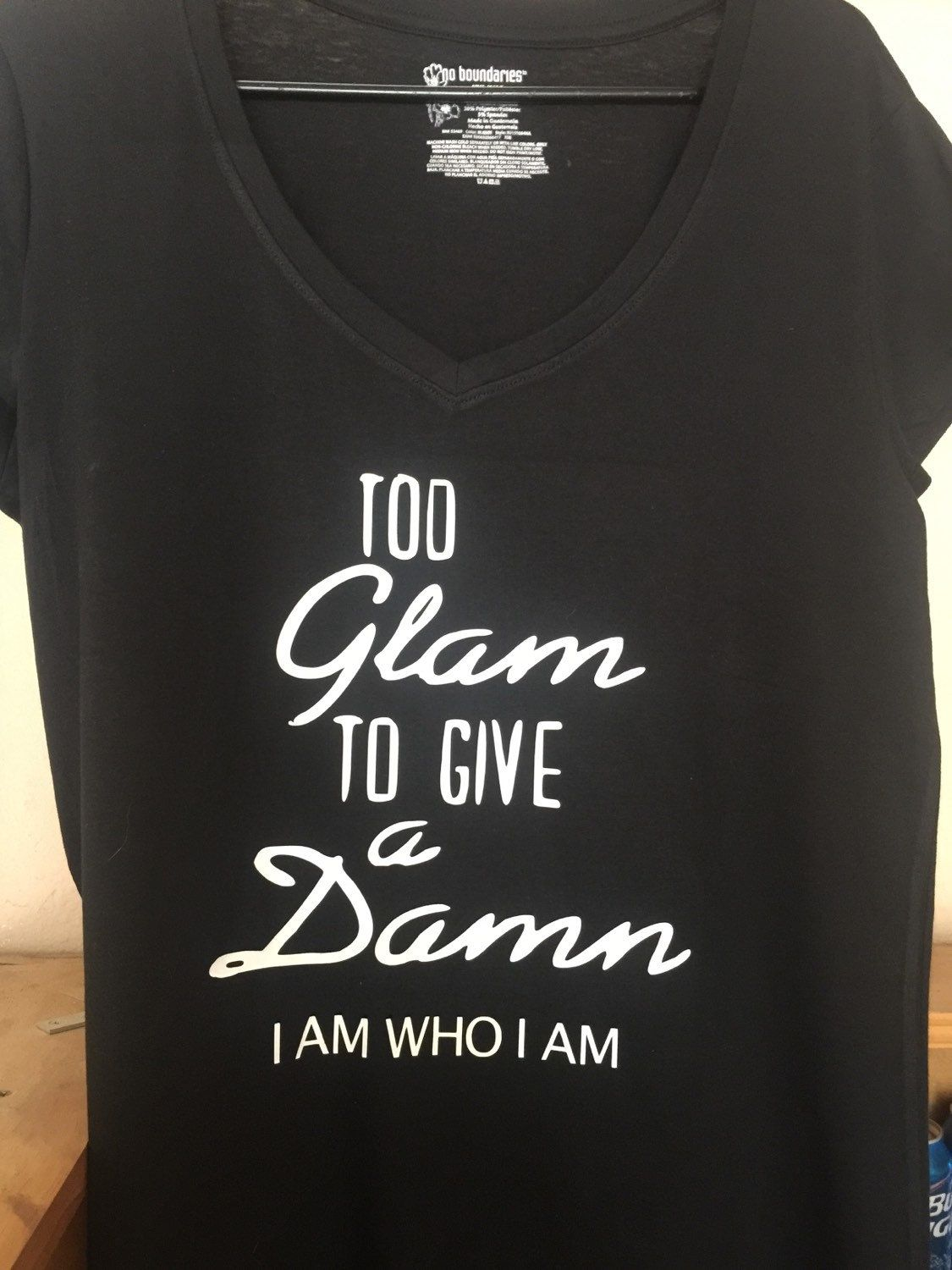 22.00 too glam to give a damn tshirt or tank top by Jkdezign on Etsy
