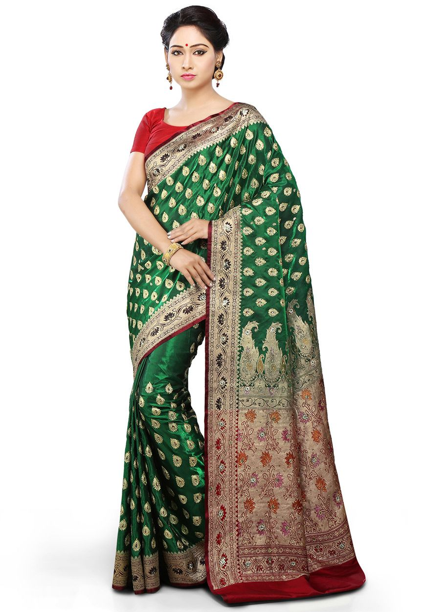 b2e922ebb7 Buy Dark Green and Red Art Banarasi Silk Saree with Blouse online, work:  Embroidered, color: Dark Green / Red, usage:…