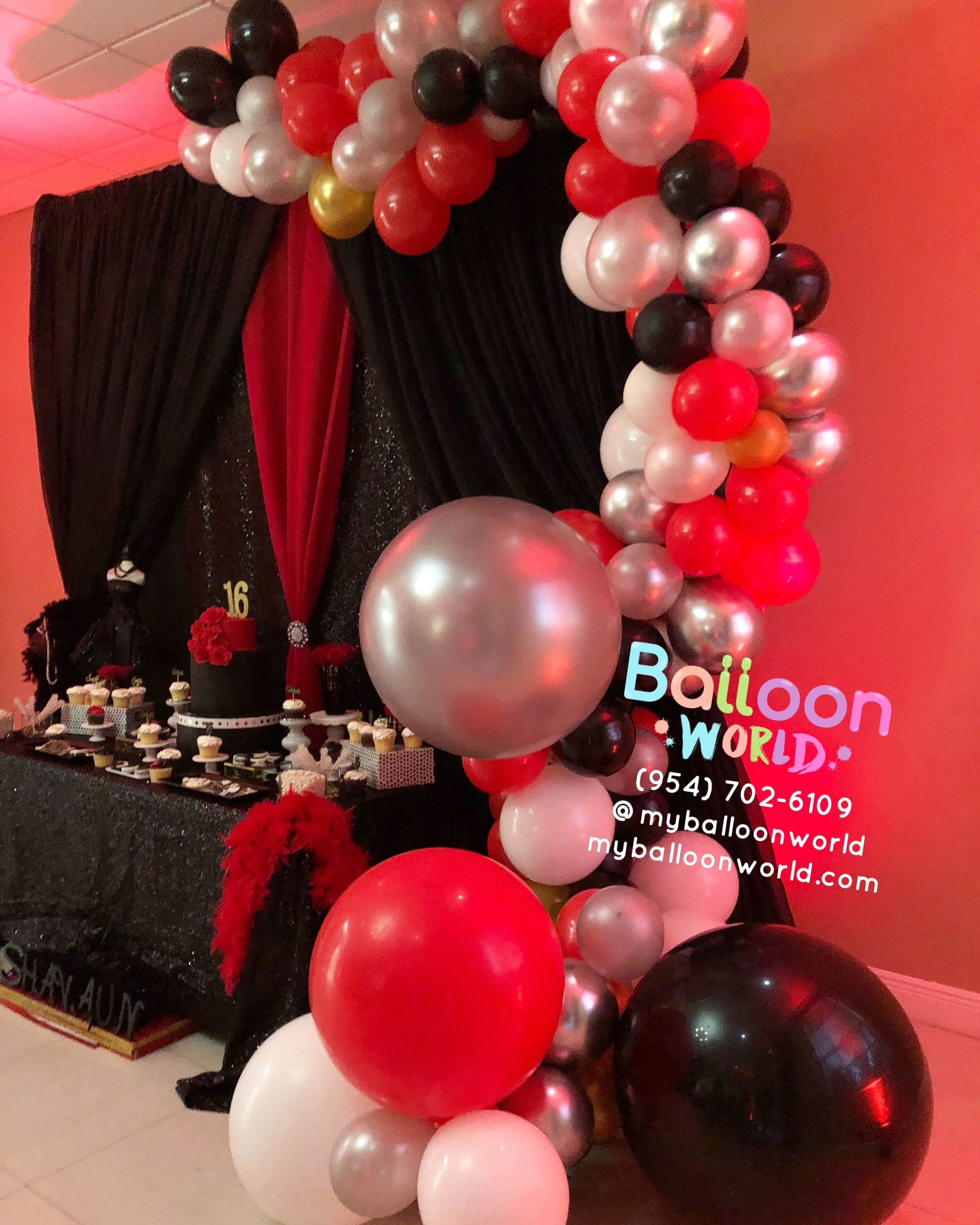 Red And Silver Balloon Garland Balloon Garland Elegant Balloon