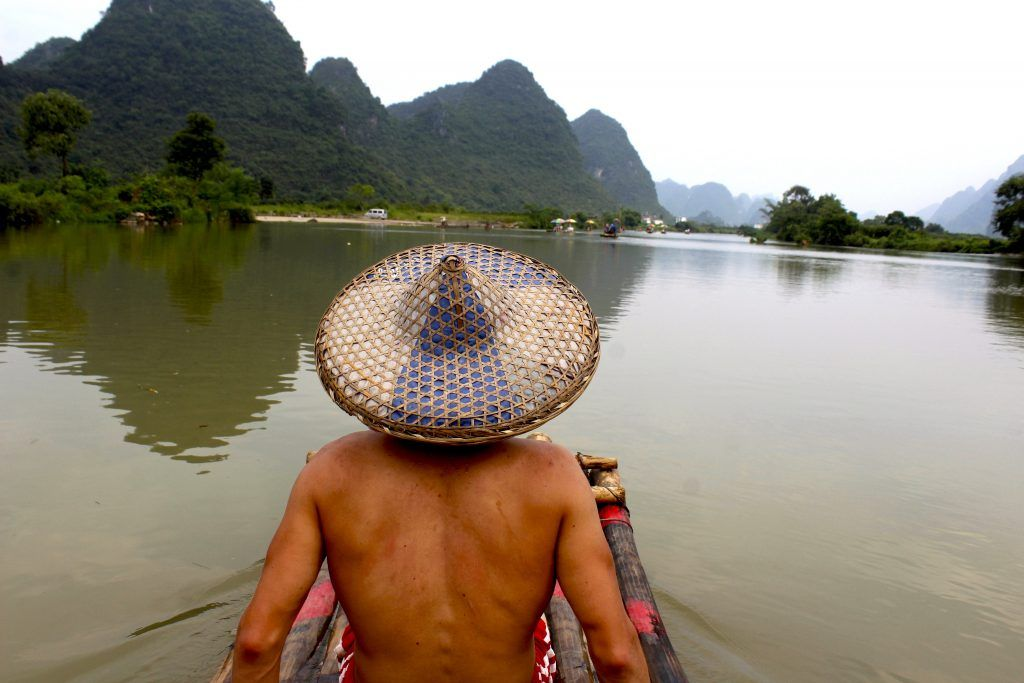 """""""Myself as I bamboo raft down the Yangtze River outside Guilin surrounded by karst mountains and beautiful scenery!"""" Demetri Savas, Shanghai, China"""