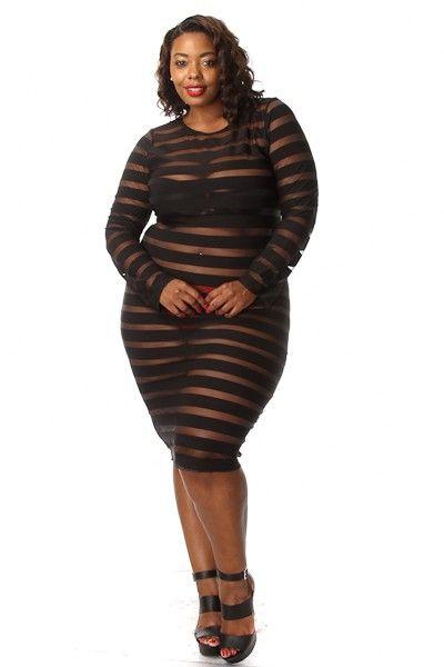 Plus Size Striped mesh Insert Midi Dress | I think I\'ll wear it ...