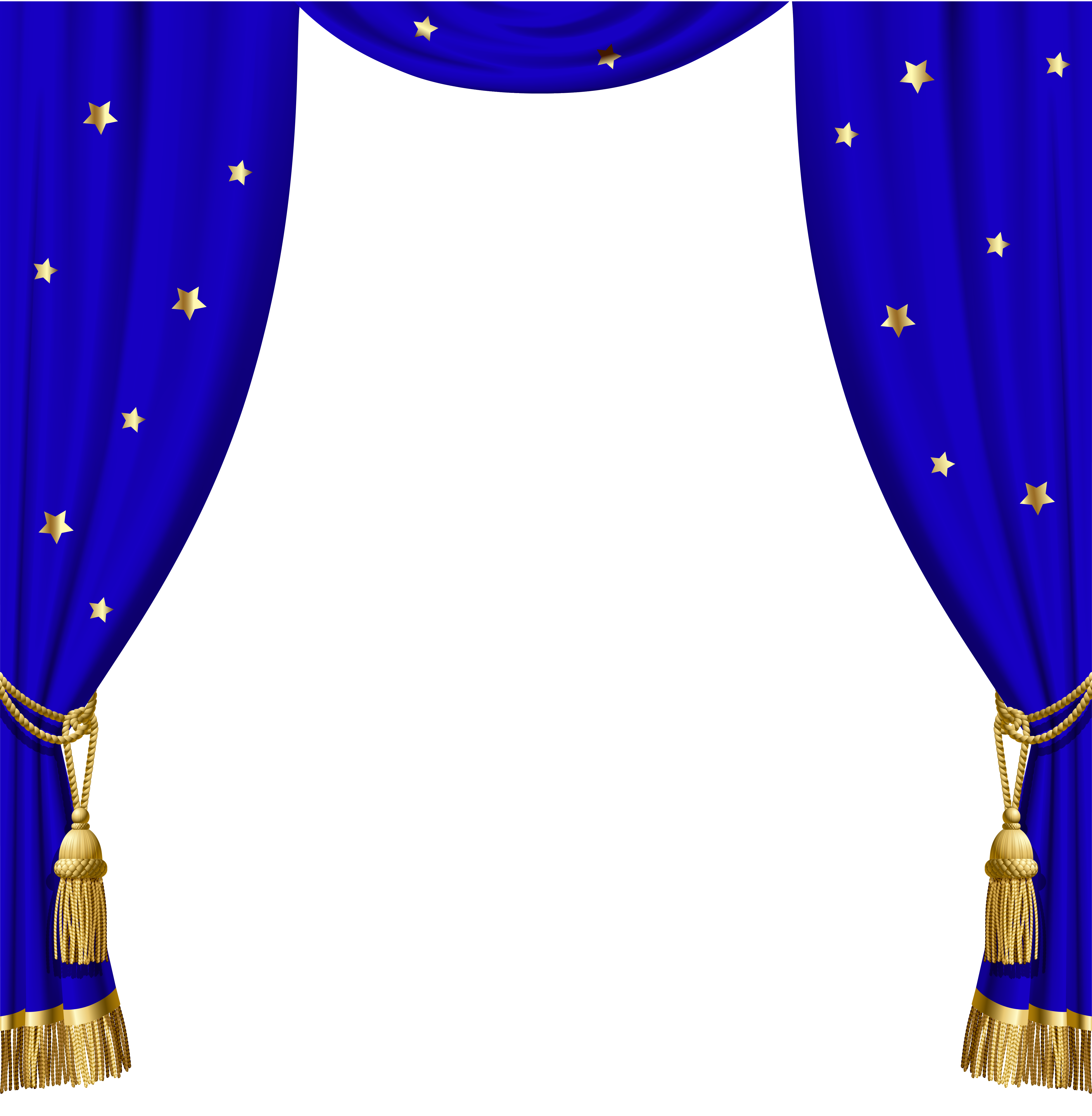 Transparent Blue Curtains with Gold Tassels and Stars