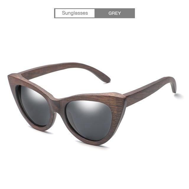 bc43779d462 HDCRAFTER Cat Eye sunglasses women wood Bamboo ladies Sunglasses Fashion  Mirror Sun glasses for Women Brand Designer female
