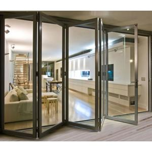 This Stunning Glass And Aluminum Three Panel Bifold Door Will Add Beauty And Functionality To Any In 2020 Bifold Patio Doors Sliding Glass Door Sliding Doors Exterior