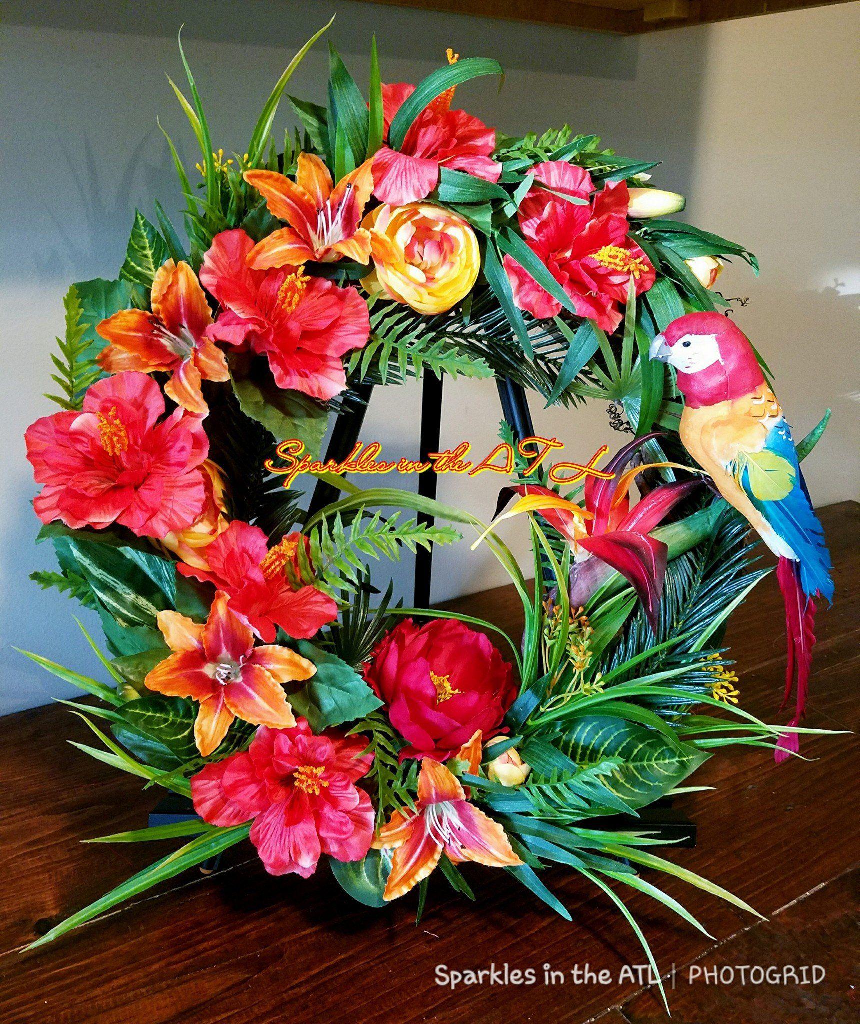 Tropical Wreath Tropical Decor Tropical Front Door Hawaiian Decor