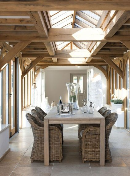 """Wow . . . that skylight and the exposed wood would be beautiful in any room. Great design for connecting """"the barn"""" to the addition. South Shore Decorating Blog"""
