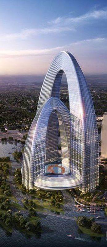 the rainbow gate tower beijing china futuristic. Black Bedroom Furniture Sets. Home Design Ideas