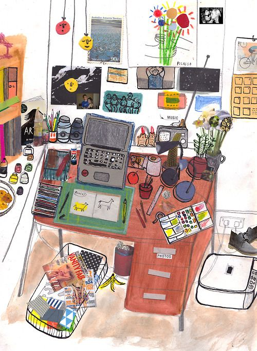 """""""this is my workspace which i drew for sir an online magazine."""" - Maisie Paradise Shearring"""