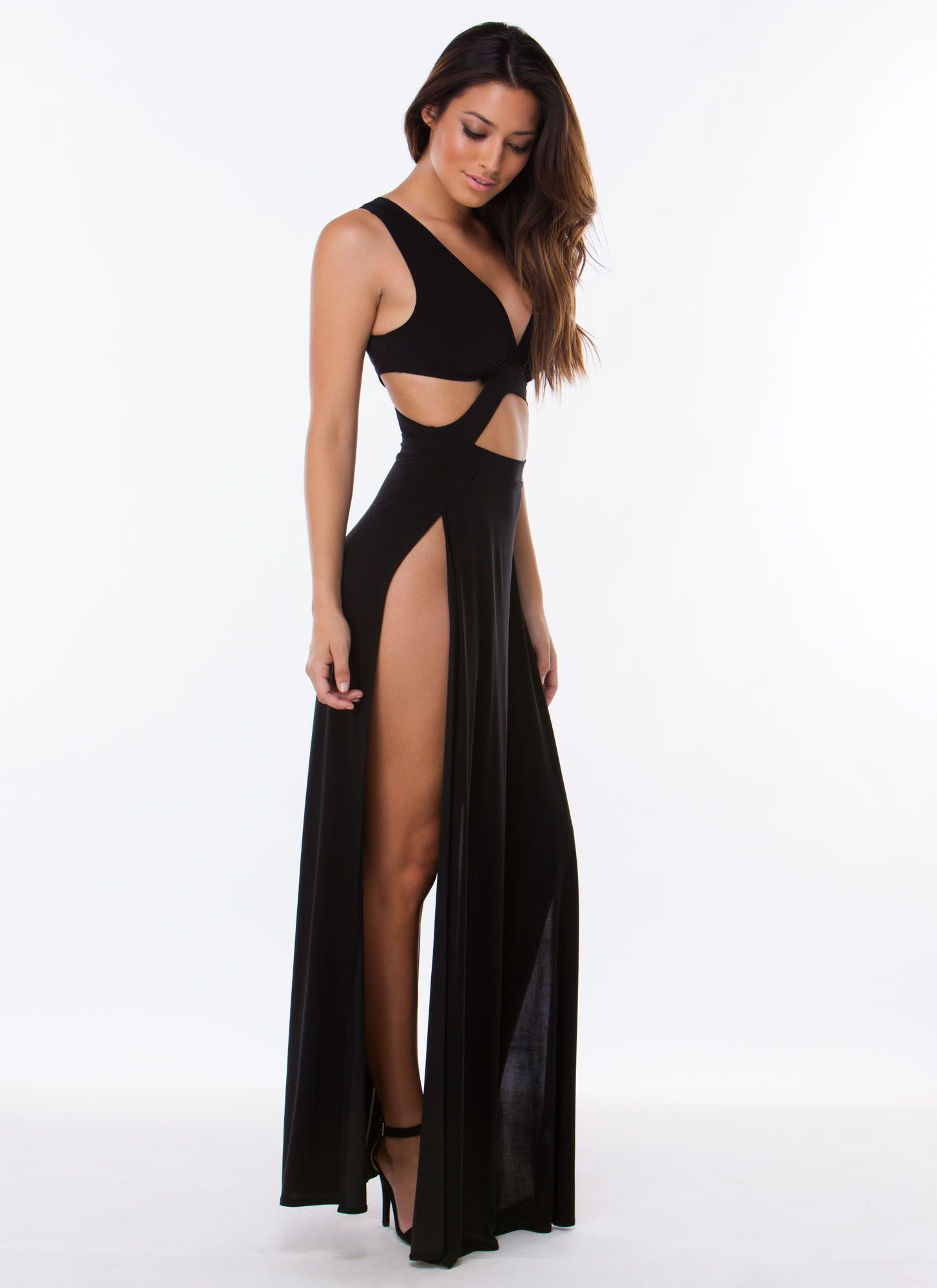 Ladies Womens Waist High Scoop Neck Side Double Split Long Slit Maxi Top Dress