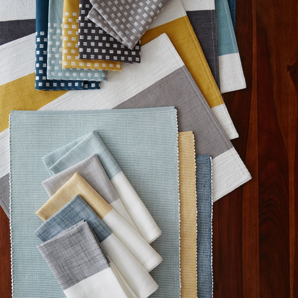 Riviera Cotton Placemats Set Of 2 Woven Placemats Mixing Fabrics Patterns Placemats