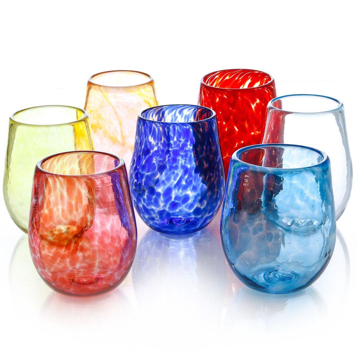 Vibrant Stemless Wine Glasses Set of 4 - Cheryl Saban Designs  - 2