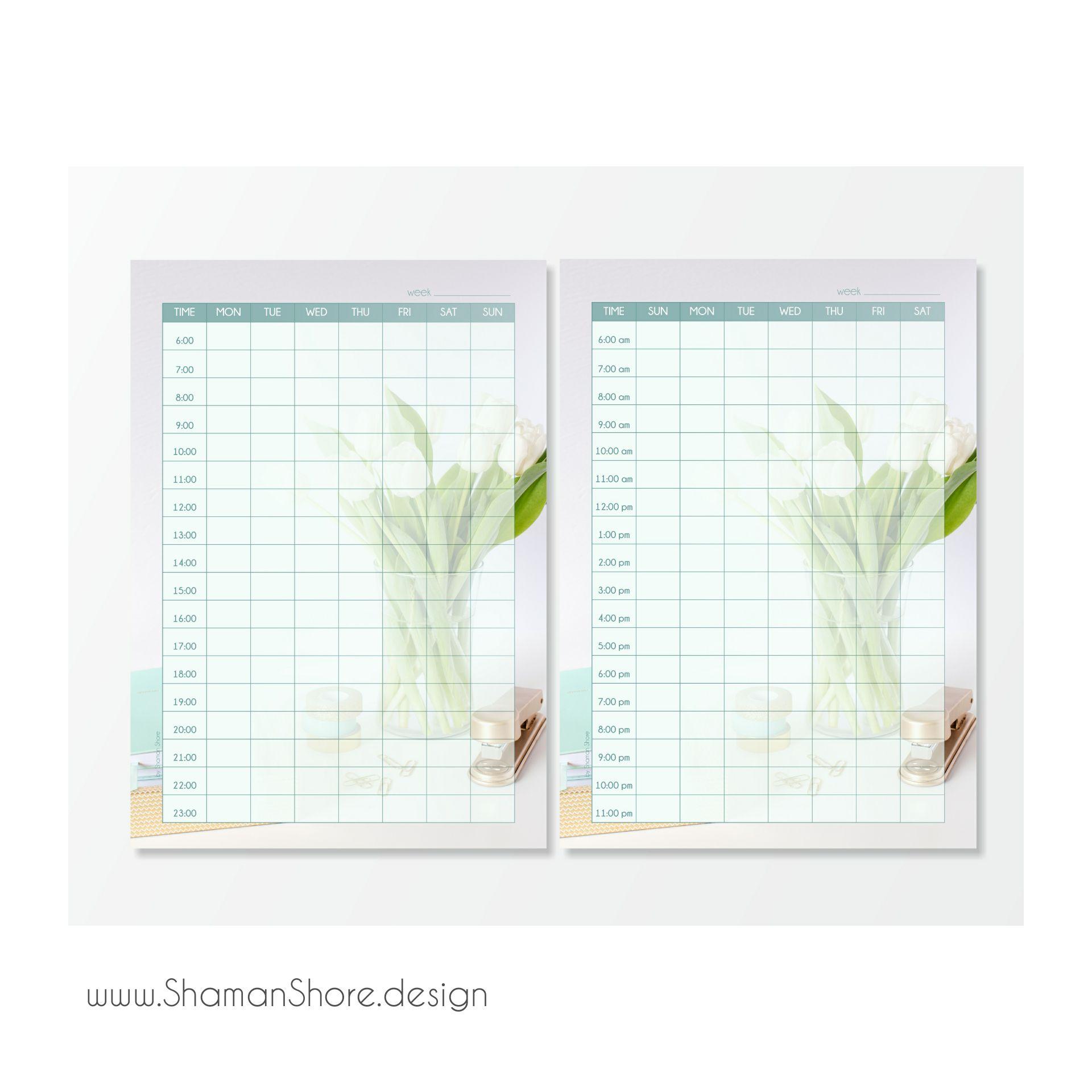 Self Efficiency Organization Time Management Light Blue Weekly Agenda Printable Floral Color