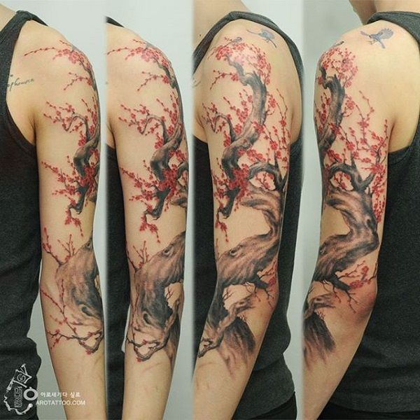01c32968be3ce 40 Beautiful Cherry Blossom Tattoos Awesome Sleeve Tattoos