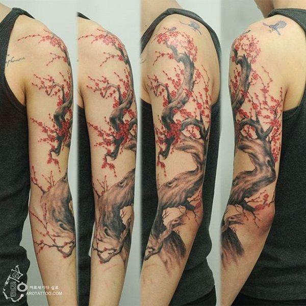 40 Beautiful Cherry Blossom Tattoos Nenuno Creative Cherry Tree Tattoos Tree Sleeve Tattoo Blossom Tattoo