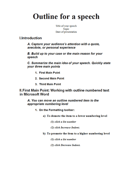 Speech Outline  Templates  School    Outlines School