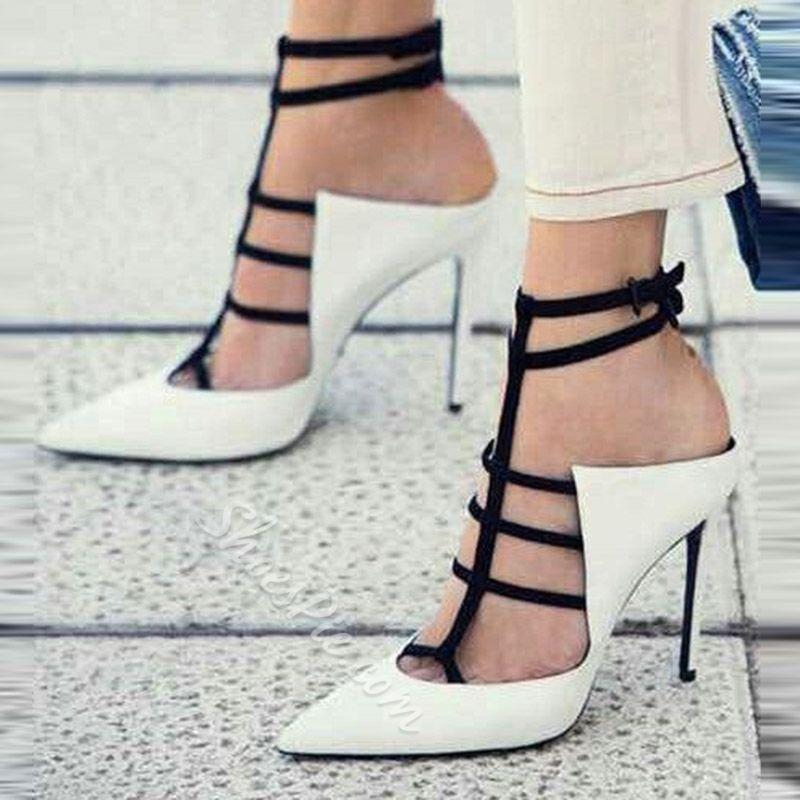 White Closed Toe Buckle Stiletto Heels