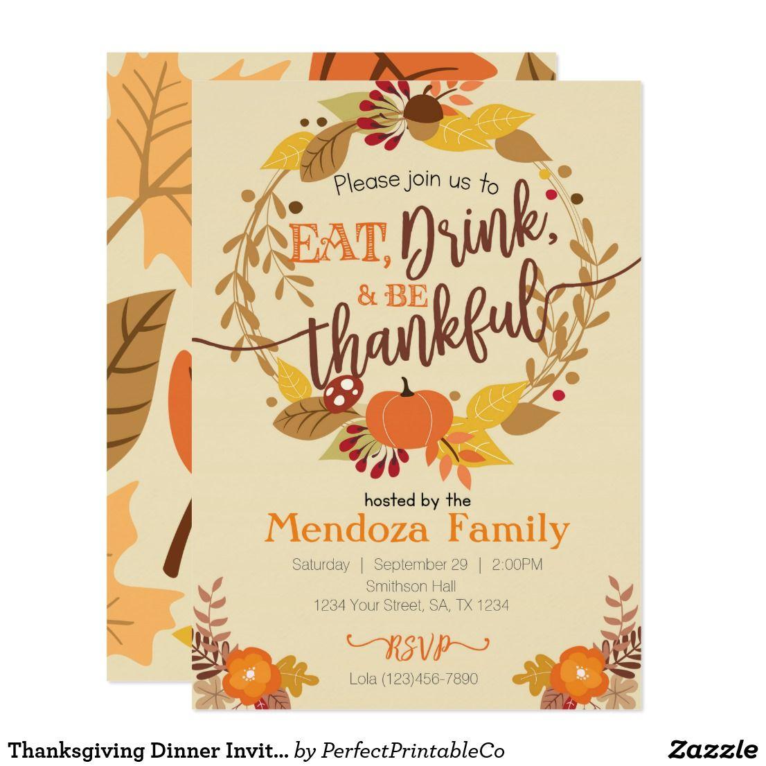 thanksgiving dinner invitation feast invitation in 2018 happy