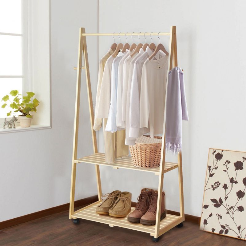Creative Home Yi Wood Floor Coat Rack Hanger Bedroom Clothes Stylish Interior White