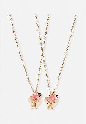 Bff Paris Heart Locket Necklace 2 Pack Heart Locket