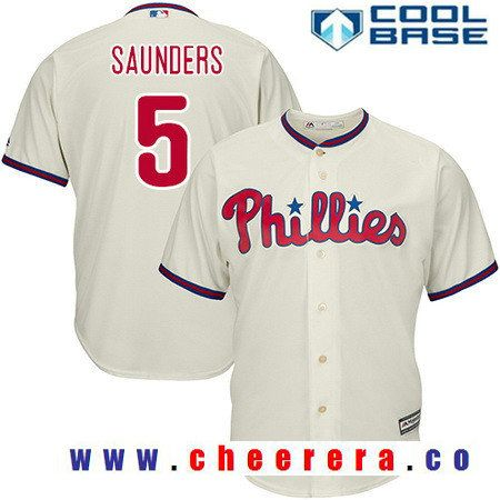 Men's Philadelphia Phillies #5 Michael Saunders Cream Alternate Stitched MLB Majestic Flex Base Jersey