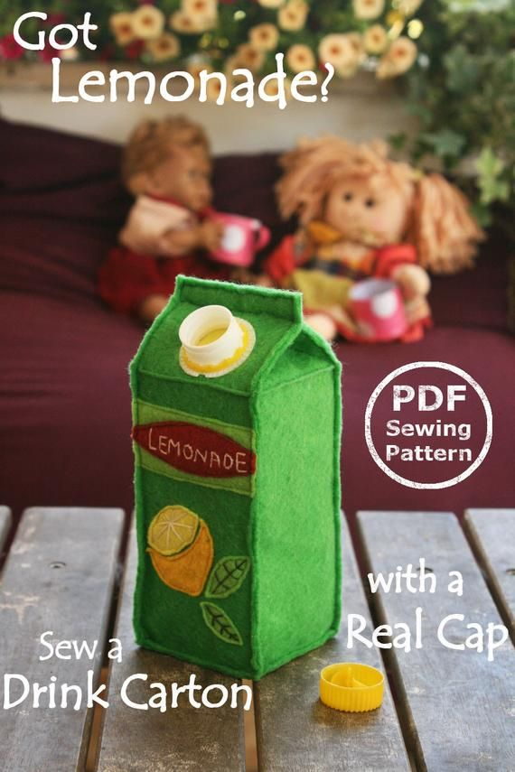Felt Food Juice Carton PDF Sewing Pattern- Interactive Softie with real screw cap // Got Lemonade? #instructionstodollpatterns