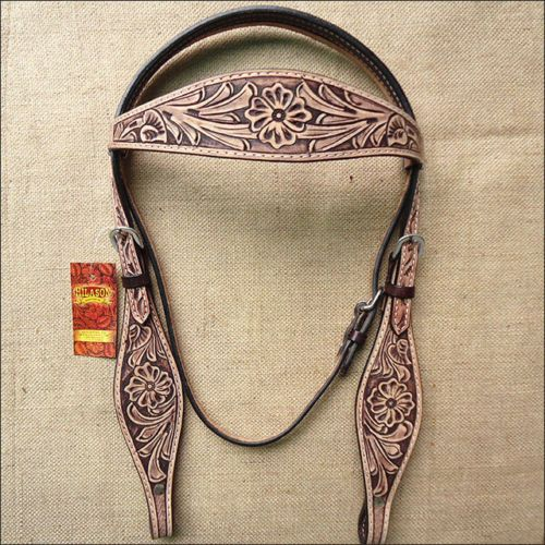 HILASON WESTERN LEATHER HORSE BRIDLE HEADSTALL ANTIQUE RUSTIC VINTAGE BROWN