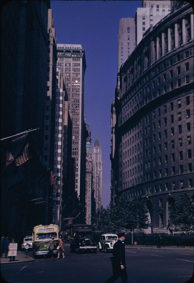 Canyon of Broadway from Bowling Green, New York City. From the Charles W. Cushman collection of color photographs taken in 1941.