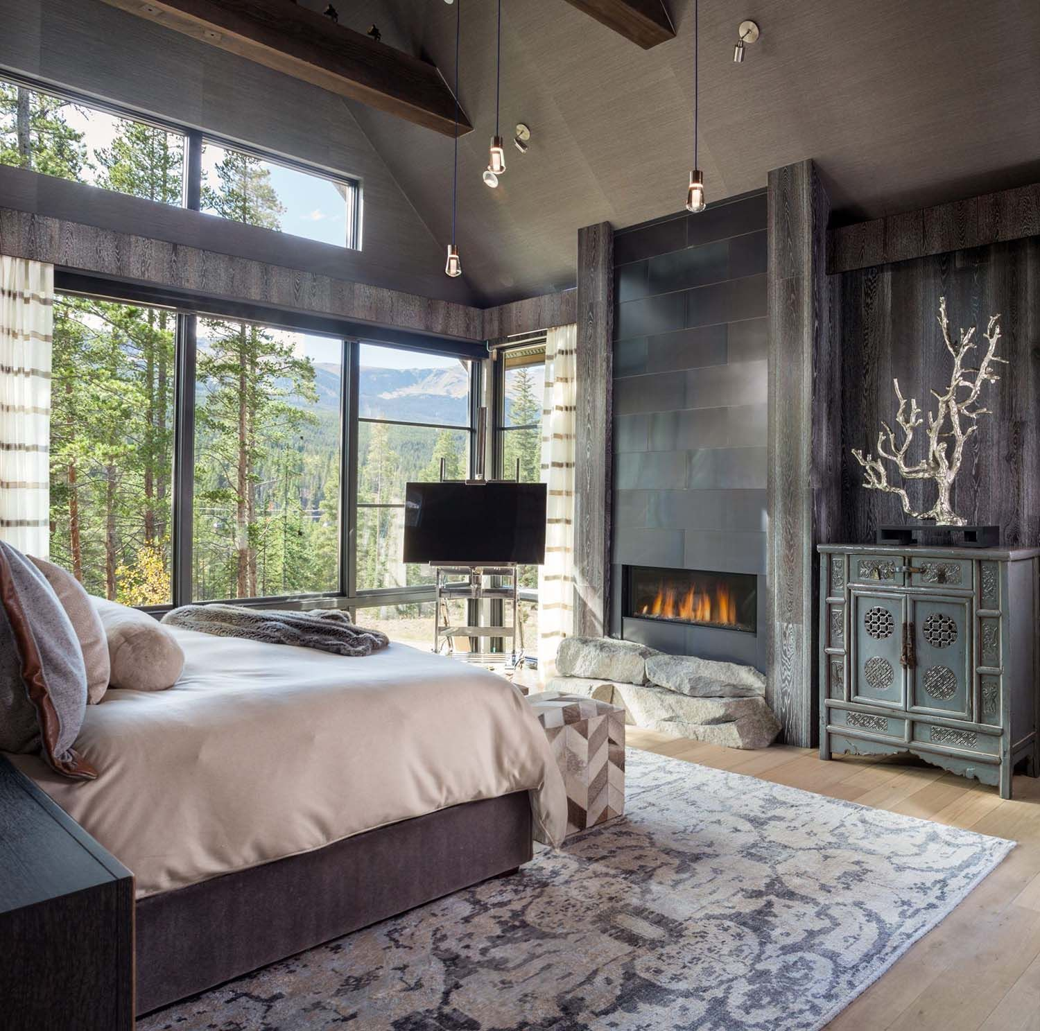 Modern Classic And Rustic Bedrooms: Mountain Chalet In Colorado Showcases Rustic-contemporary