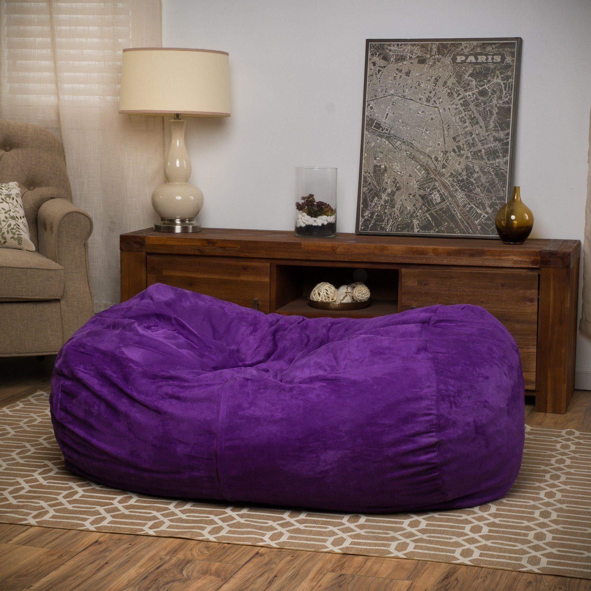 Cassell Purple Fabric 4 Foot Lounge Beanbag Chair