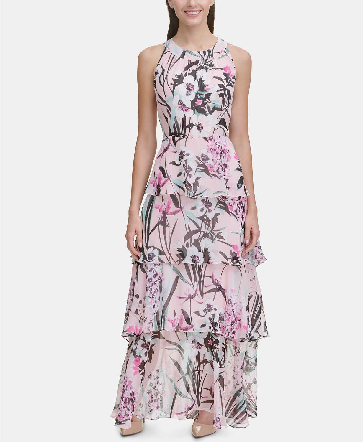 47df53c5fd4d #GORGEOUS #Easter Tommy Hilfiger Printed Chiffon Tier Maxi Dress, Created  for Macy's & Reviews - Dresses - Women - Macy's #ad #easterdress #spring  #fashion