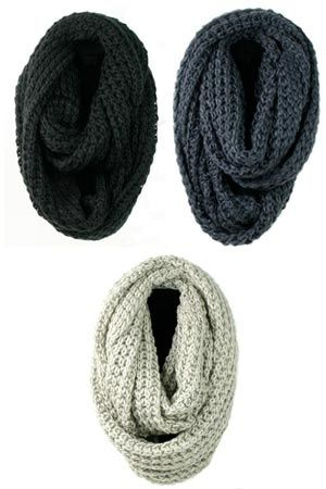 infinity knit scarf - @Adria D knows i want one :) they look so comfy! in one of these colors, or a forest green, or rusty orange, or an obre of any of those.