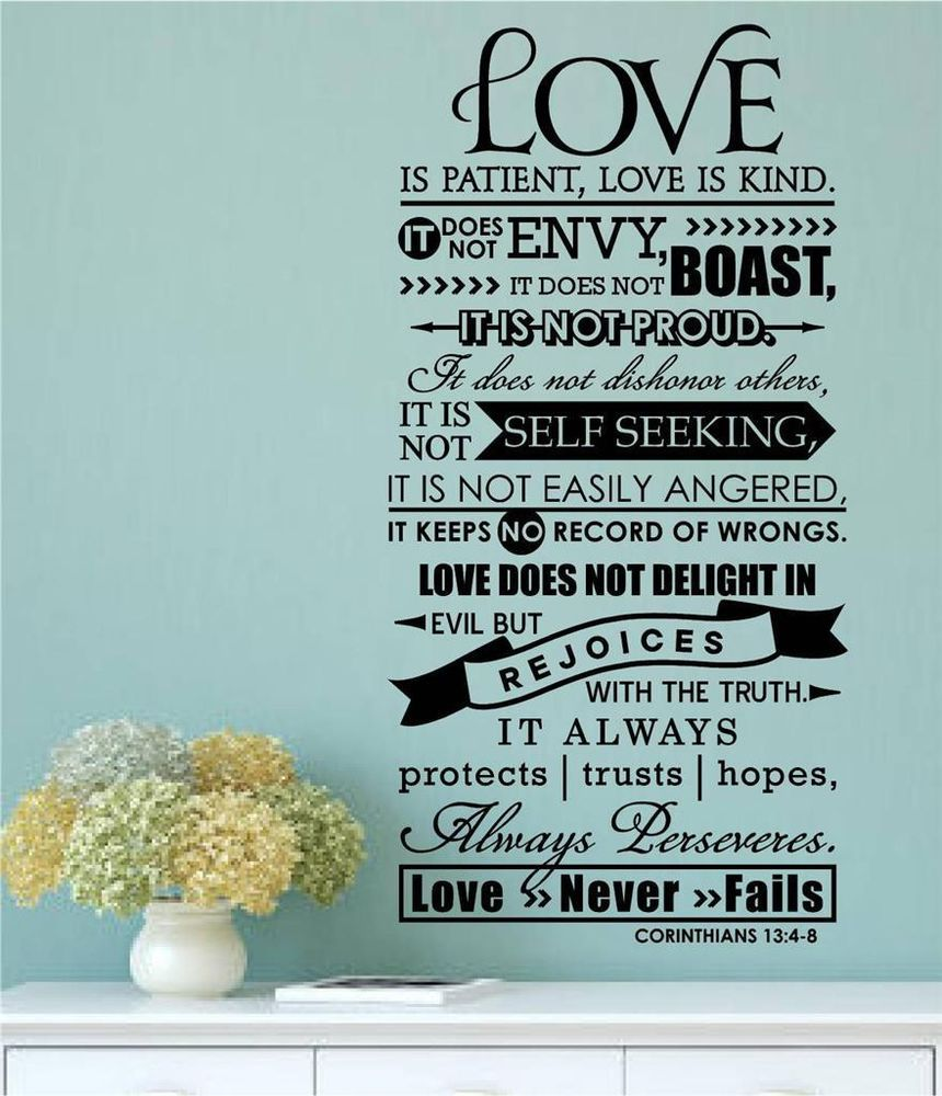 Bible verse love is patient kind vinyl decal wall sticker for Bible verse decor