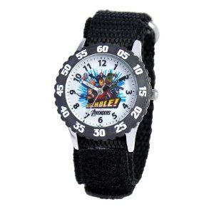 Marvel Comics Kids' W000296 Avengers Stainless Steel Time Teacher Watch Marvel Comics. $36.03. Accurate quartz movement. 1 year limited manufacturer's warranty. Water-resistant to 30 M (99 feet). Time Teacher watch design with labeled Hour & Minute hands, recommended for ages 3-7 yrs old. Stainless steel case, water resistant to 3ATM. Meets or exceeds all US Government requirements and regulations for children's watches