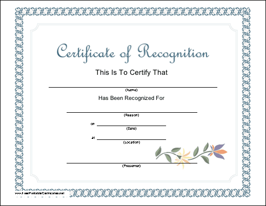 A classy certificate of recognition bordered in a light blue pattern a classy certificate of recognition bordered in a light blue pattern and accented with a stenciled flower on a vine free to download and print yelopaper Choice Image