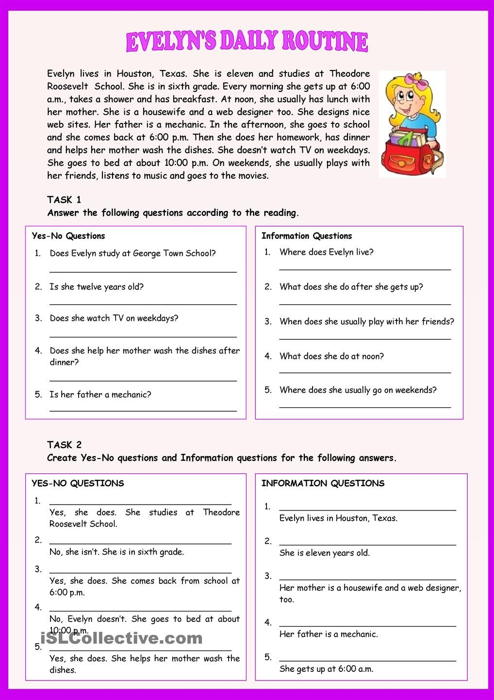 Worksheets Daily Grammar Practice Worksheets evelyns daily routine present simple pinterest english a worksheet for students to practice activities it contains text two exercises with yes no and information questions