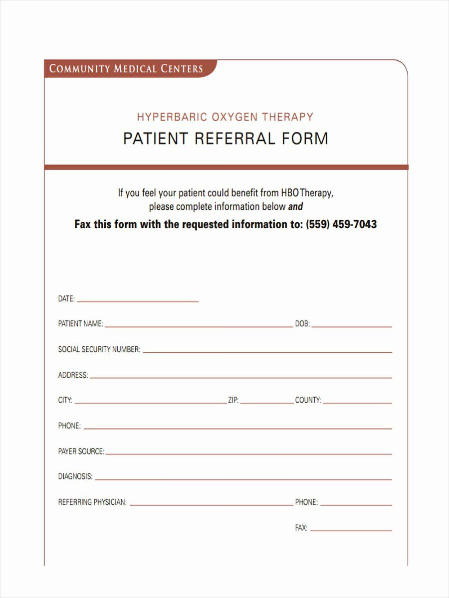 Referral Form Template Word Unique Free 7 Medical Referral Forms In Samples Examples Formats Treatment Plan Template Referral Letter Referrals