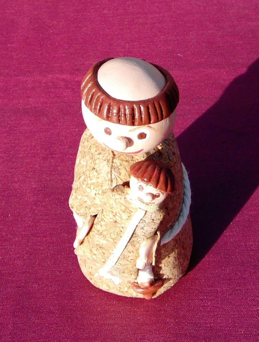 Santo António em biscuit forrado a cortiça