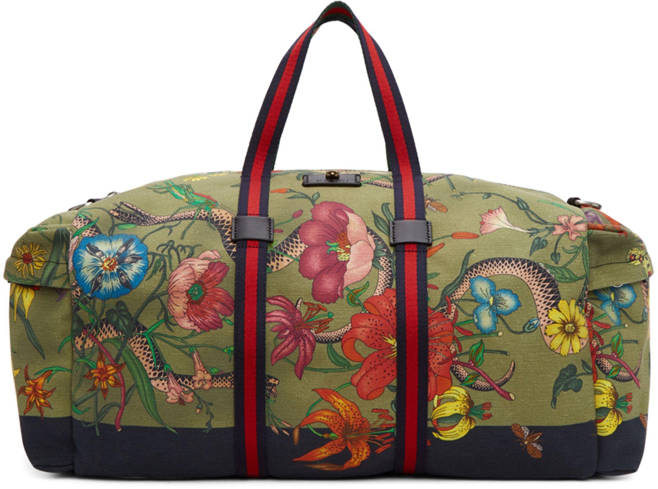 3e9577bb6b7 Gucci Green Canvas Flora Snake Duffle Bag