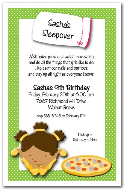 Sashas Sleepover Invitation wording Slumber parties and Sleepover