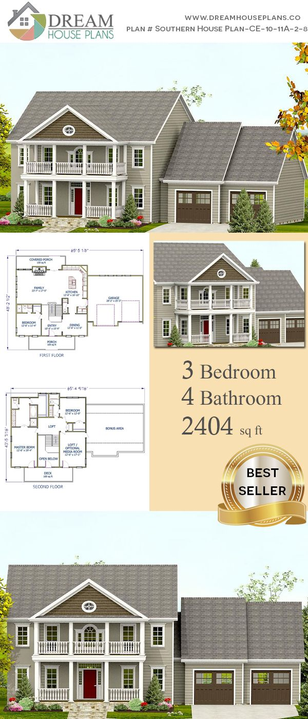 3 Bedroom 4 Bathroom 2404 Sq Ft Southern House Plan Ce