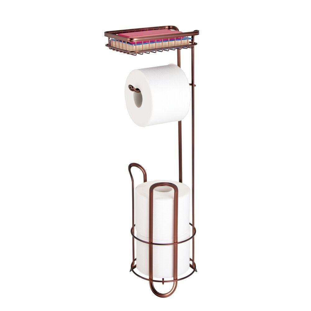 Toilet Tissue Paper Roll Dispenser Storage Shelf Metal In 2021 Toilet Paper Holder Dispenser Free Standing Toilet Paper Holder Toilet Paper Holder