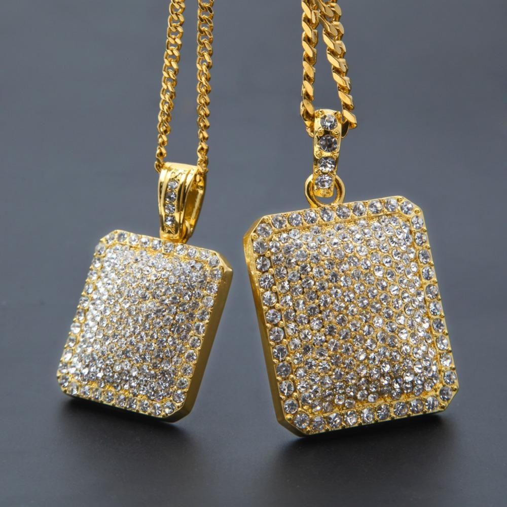 Womens fashion full iced out rhinestone gold silver color square dog