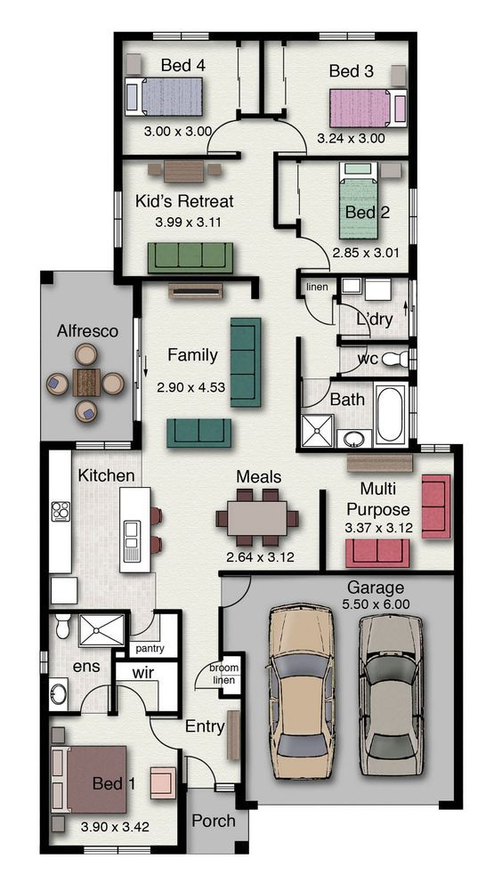 Single Story Home Floor Plan With 4 Bedrooms Double Garage And 210 Square Meters House Floor Plans Single Story House Floor Plans House Layout Plans