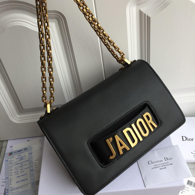 c2b7c937b326 JADIOR woman Dior chain shoulder bag black original leather