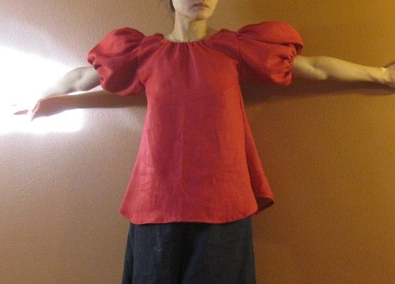 eco linen puffy sleeve wavy top  made to measure petite to plus size
