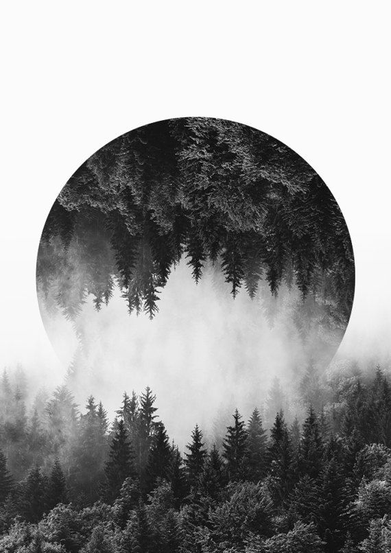 Photo of Mountain Wall Art, Forest Print, Black and White Prints, High Quality Art Paper, Large Size Available