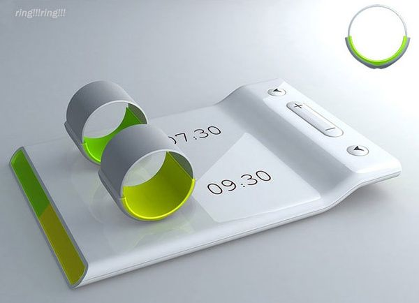 Couples' alarm clock - Put the ring on your finger and it vibrates to wake you and not your partner....need!!!