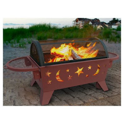 Landmann Aspen Outdoor Fireplace Steel Black Rectangular Fire Pit Fire Pit Screen Fire Pit