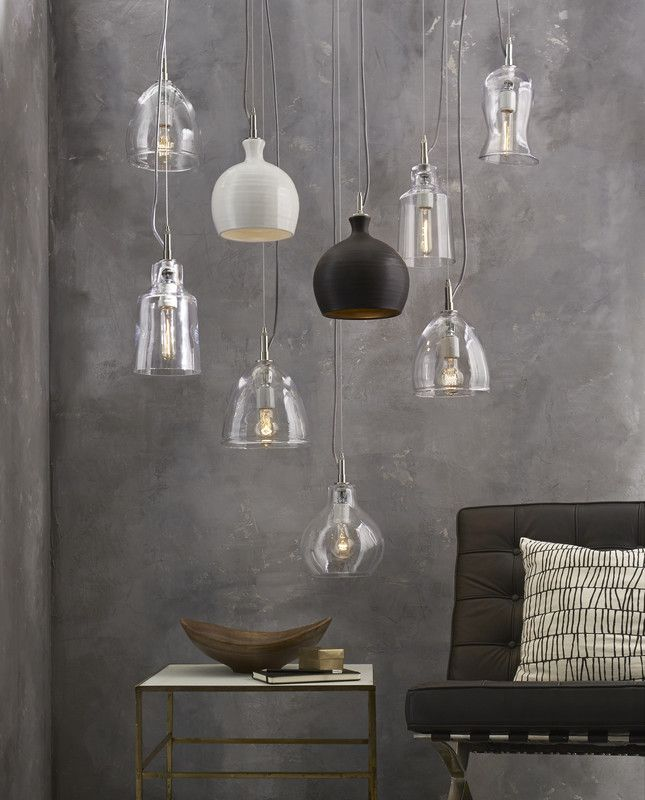 Mix of glass ceramic pendants