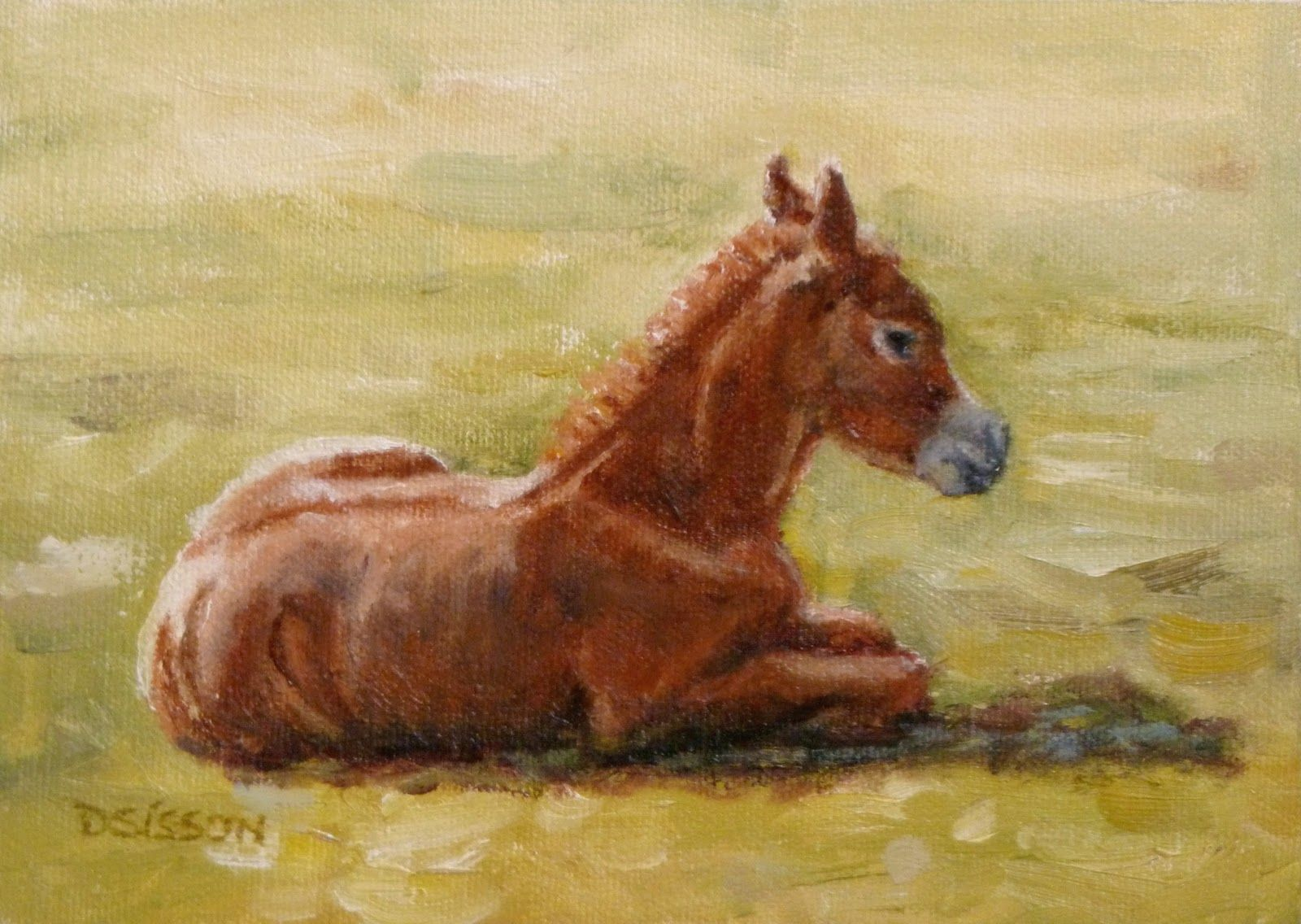 Easy Animal Canvas Paintings | ... : Pasture Foal Oil Painting Horse ...